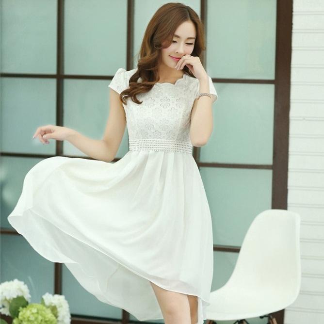 ชุดเดรสออกงานสวยๆ ชุดเดรสสั้นสีขาว ผ้าชีฟอง ใส่ไปงานแต่งงาน ออกงานเลี้ยง ให้ลุคสาวหวานสไตล์เกาหลี สวยหรู ดูดี ( S M L XL )