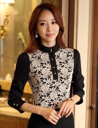 เสื้อทำงานแฟชั่นสไตล์เกาหลีสวยๆ เสื้อลูกไม้แขนยาวสีดำ คอจีน กระดุมคอ ผ้าลูกไม้เนื้อผ้ายืดหยุ่น