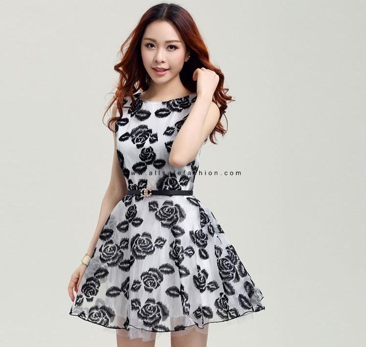 ชุดเดรสสั้นสีดำ แขนกุด แนวเกาหลีสวยๆ น่ารักๆ ใส่เป็นชุดลำลอง ชุดไปงานแต่งงานน่ารักๆ