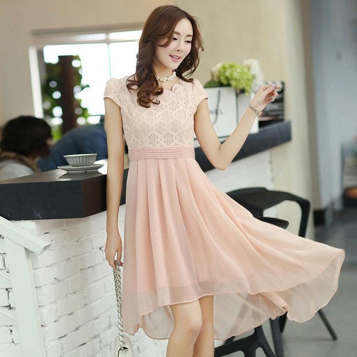 ชุดเดรสออกงานสวยๆ ชุดเดรสสั้น สีชมพู ผ้าชีฟอง ใส่ไปงานแต่งงาน ออกงานเลี้ยง ให้ลุคสาวหวานสไตล์เกาหลี สวยหรู ดูดี ( S M L XL )