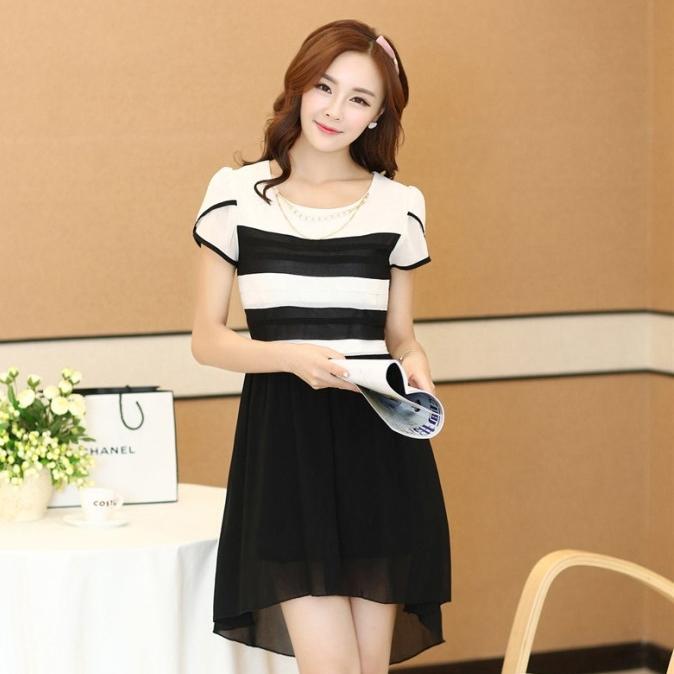 ชุดเดรสทำงานสวยๆ ชุดเดรสสั้นสีดำ ผ้าชีฟอง เนื้อผ้าดี ( S M L XL )
