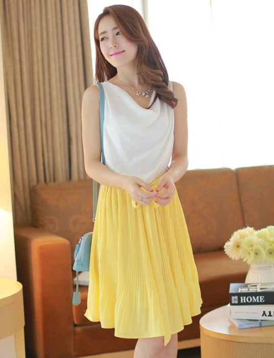 ชุดออกงานสวยๆ ชุดแซกกระโปรงสีเหลือง
