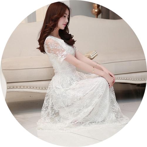 ชุดเดรสยาวออกงานสวยหรู สีขาว ผ้าลูกไม้ซีทรูมีซับในอย่างดี แขนสั้น กระโปรงยาวสวยหวาน ดูดี ใส่ออกงาน ใส่ทำงานได้