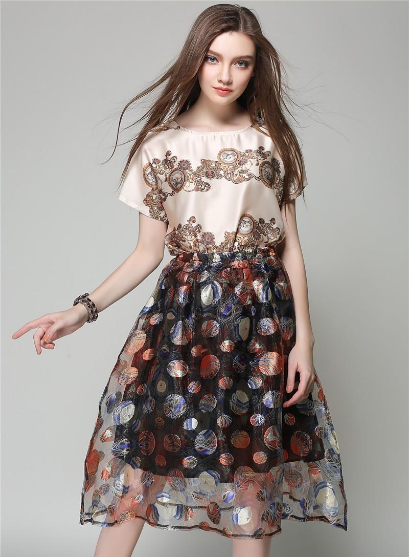 ชุดเดรสทำงานแนวเกาหลีน่ารักๆ เซตเข้าชุด เสื้อสีครีมพิมพ์ลาย กระโปรงสั้นสีดำพิมพ์ลายสวยๆ