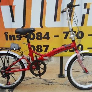 จักรยานพับเฟรมเหล็ก Pioneer รุ่น RB สีแดง เฟรมเหล็ก ล้อ 20 นิ้ว มีโช๊คหลังกันสะเทือน เกียร์ 6 Speed