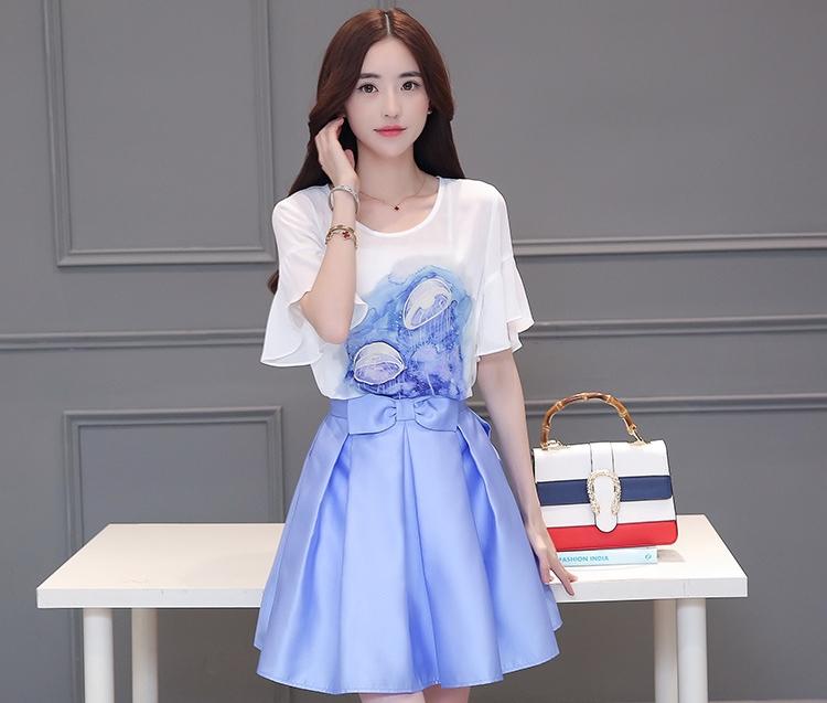 ชุด SET แฟชั่นเกาหลีน่ารัก เสื้อสีขาว + กระโปรงสั้นสีฟ้า ราคาถูก