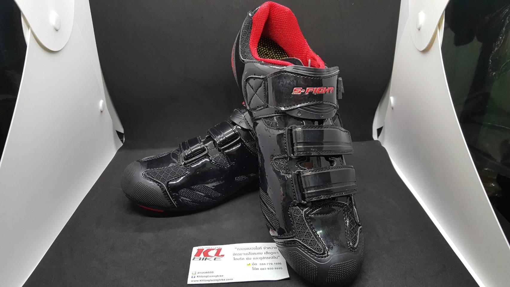 รองเท้าคลีต S Fight F362 สีดำแดง แบบ 2 in 1 ใส่ได้ทั้งคลีตหมอบและภูเขา พื้นไนล่อน