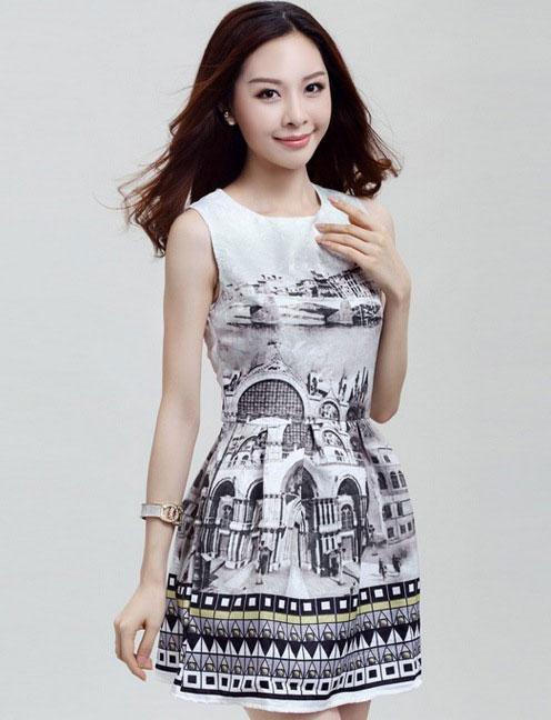 ชุดเดรสทำงานแฟชั่นสไตล์เกาหลีสวยๆ ชุดแซกกระโปรงใส่ทำงาน พิมพ์ลายเมืองโบราณเก๋ๆ สีเทาอมเขียวขี้ม้าอ่อนๆ ผ้าคอลตอลอัดลายดอกไม้ ซิปหลัง ,