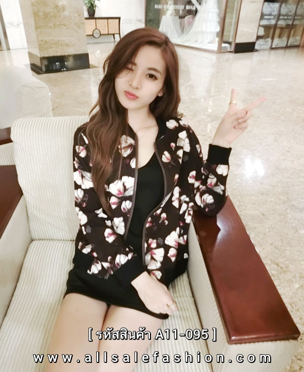 เสื้อแจ็กเก็ตผู้หญิงสีน้ำตาลเข้ม ลายดอกไม้ ซิปหน้า สวยเท่แอบหวาน สไตล์เกาหลี