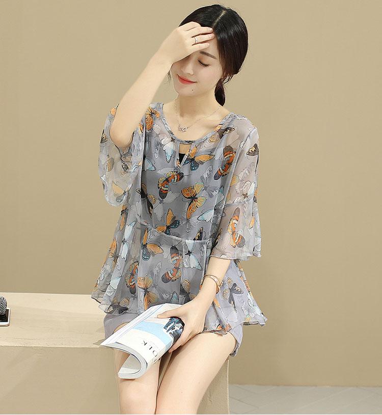 ชุดเซตเสื้อ กางเกง สีเทา พิมพ์ลายผีเสื้อ ผ้าชีฟอง สวยๆ ราคาถูก