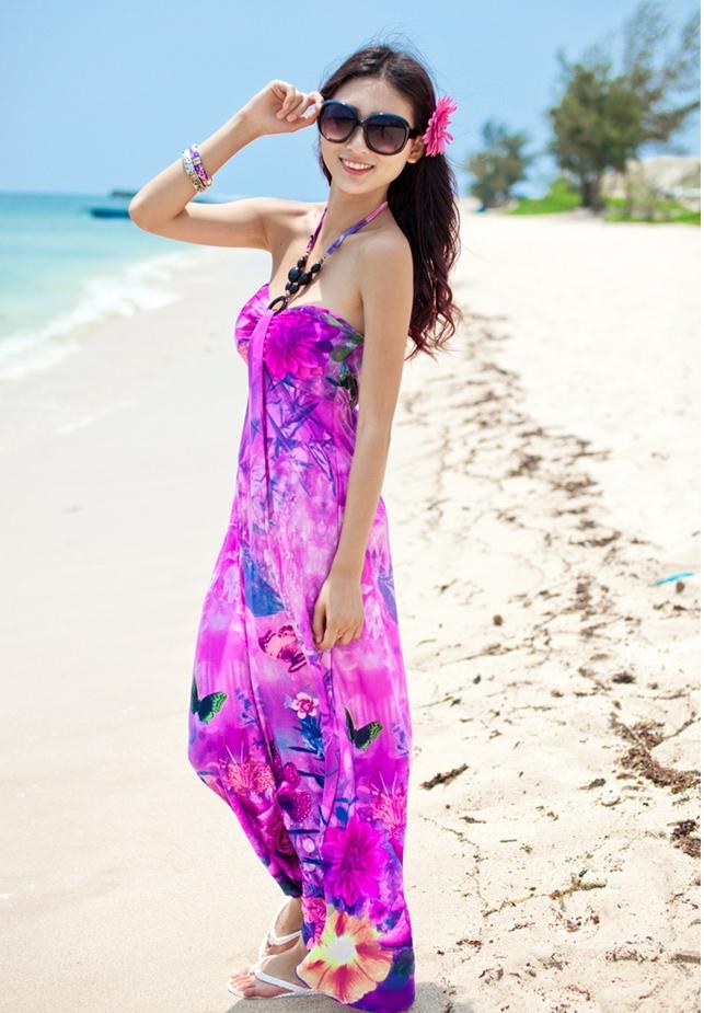 ชุดเดรสเที่ยวทะเลยาวสีม่วง ใส่ไปเที่ยวทะเล เย็บคล้องคอ เอวยืด พิมพ์ลายดอกไม้ สวยหวาน