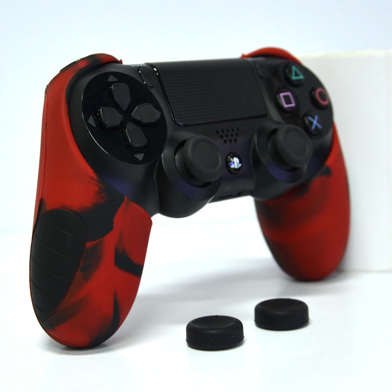 Thicker Half Skin Cover ซิลิโคนเคสแบบหนา ลายแดงดำ สำหรับจอย PS4 แถมฟรี ซิลิโคนครอบปุ่มอนาล็อก 2 ชิ้น