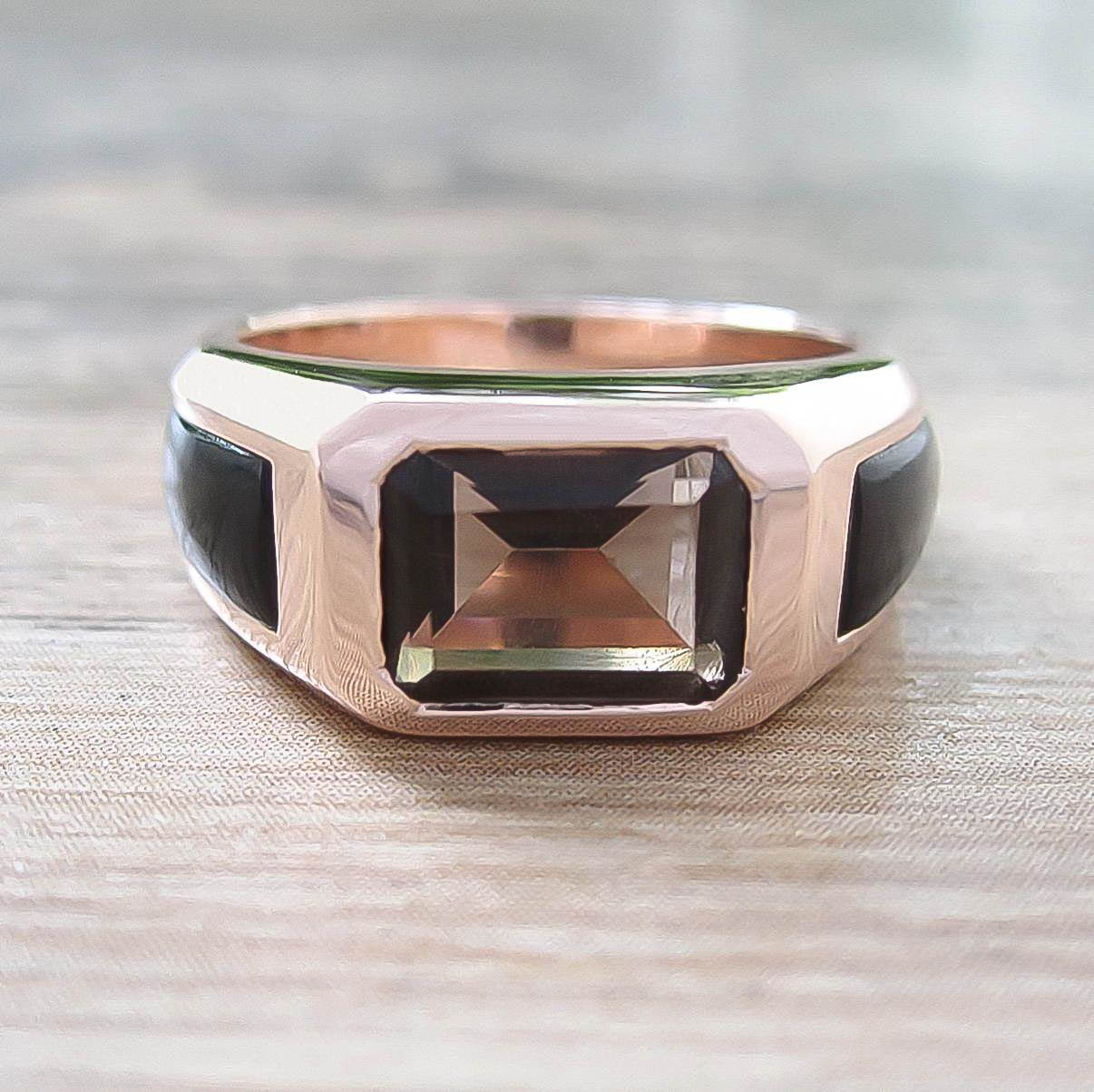 แหวน Smoky Quartz + Black Onyx Sterling Silver สี Rose Gold รุ่น Majestic