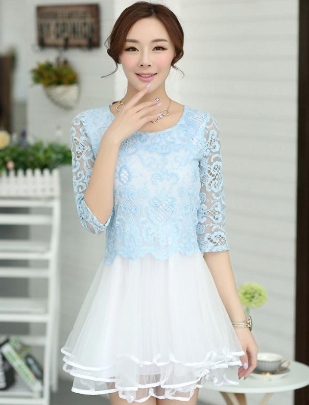 ชุดเดรสออกงาน ชุดไปงานแต่งงาน ชุดเดรสสั้นลูกไม้สีฟ้า กระโปรงบานผ้าแก้วทรงเจ้าหญิง ลุคสวยวหวาน เรียบร้อย ดูดี ( S M L XL )