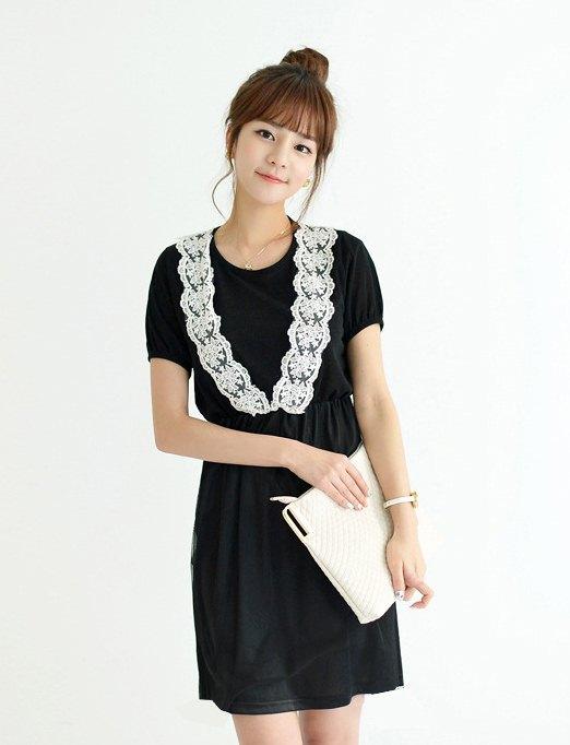 ชุดแซกกระโปรงสั้น มินิเดรสน่ารักๆ ชุดเดรสสั้นแฟชั่นเกาหลี เดรสอินดี้ สีดำ