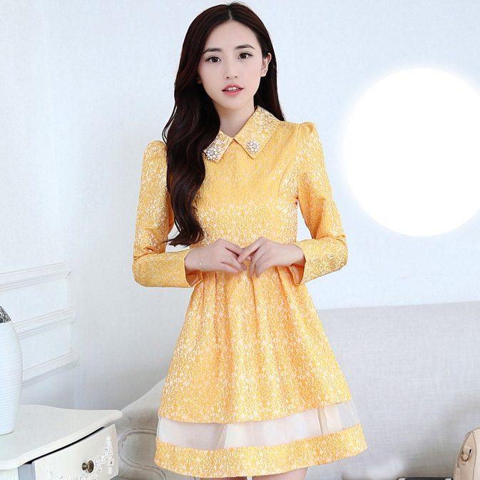 ชุดเดรสทำงานสวยๆสไตล์เกาหลี สีเหลือง ชุดเดรสสั้น คอปก แขนยาว เอวเข้ารูป ( S M L XL ) เป็นชุดทำงานออฟฟิศ(บริษัท),คุณครู,ราชการ ให้ลุคสวยหวาน น่ารักๆ ดูเรียบร้อย
