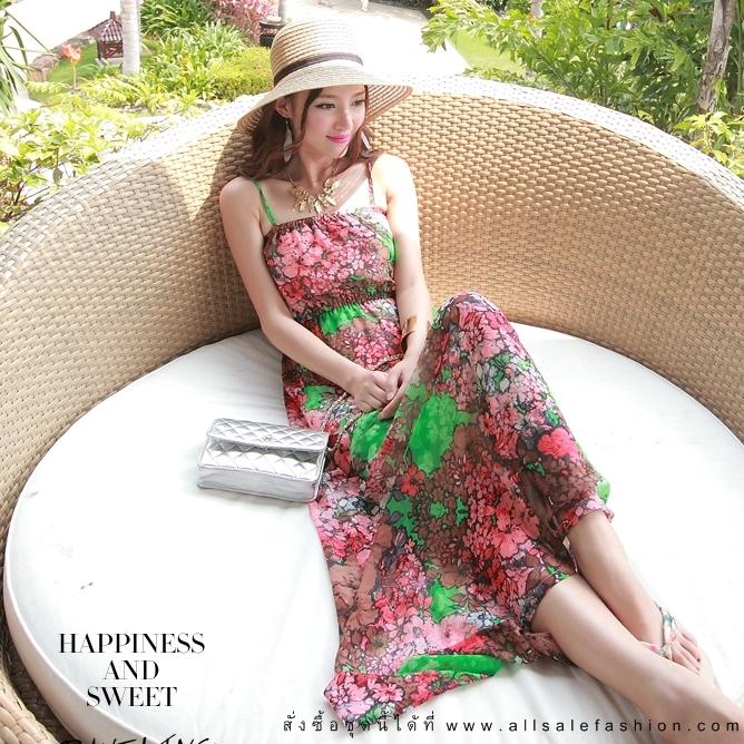 ชุดเดรสยาวใส่ไปเที่ยวทะเลสวยๆ โทนสีชมพู เขียว สายเดี่ยว เอวยืด ผ้าชีฟอง สวมใส่สบาย