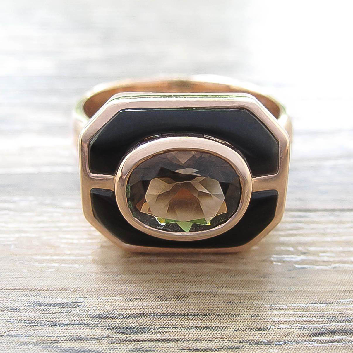 แหวน Smoky Quartz + Black Onyx Sterling Silver สี Rose Gold รุ่น Charming