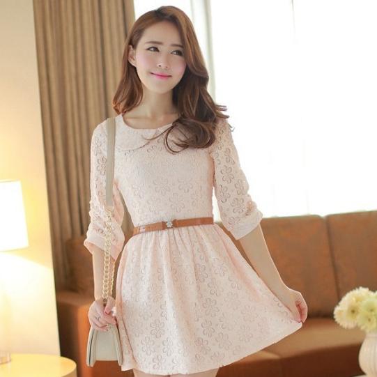 ชุดเดรสสั้นแฟชั่นเกาหลี ชุดเดรสลูกไม้สีชมพูอ่อน แขนสามส่วน เป็นชุดเดรสแนวหวานน่ารัก สวย เรียบร้อย ดูดี ( S M L )