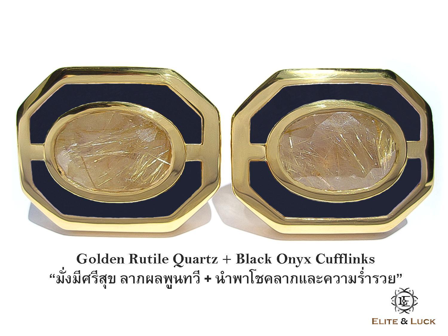 Golden Rutile Quartz + Black Onyx Sterling Silver Cufflinks สี 18K Yellow Gold รุ่น Charming