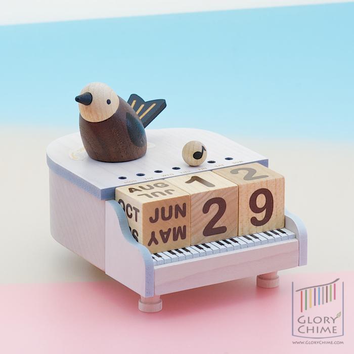 ปฏิทินกล่องดนตรี นกบนเปียโน ♫ Fruhlingslied ♫ ของขวัญ Wooden Gift
