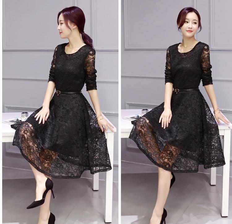 ชุดเดรสลูกไม้สีดำ แฟชั่นเกาหลี สไตล์สาวหวาน เรียบร้อย ดูดี ราคาถูก
