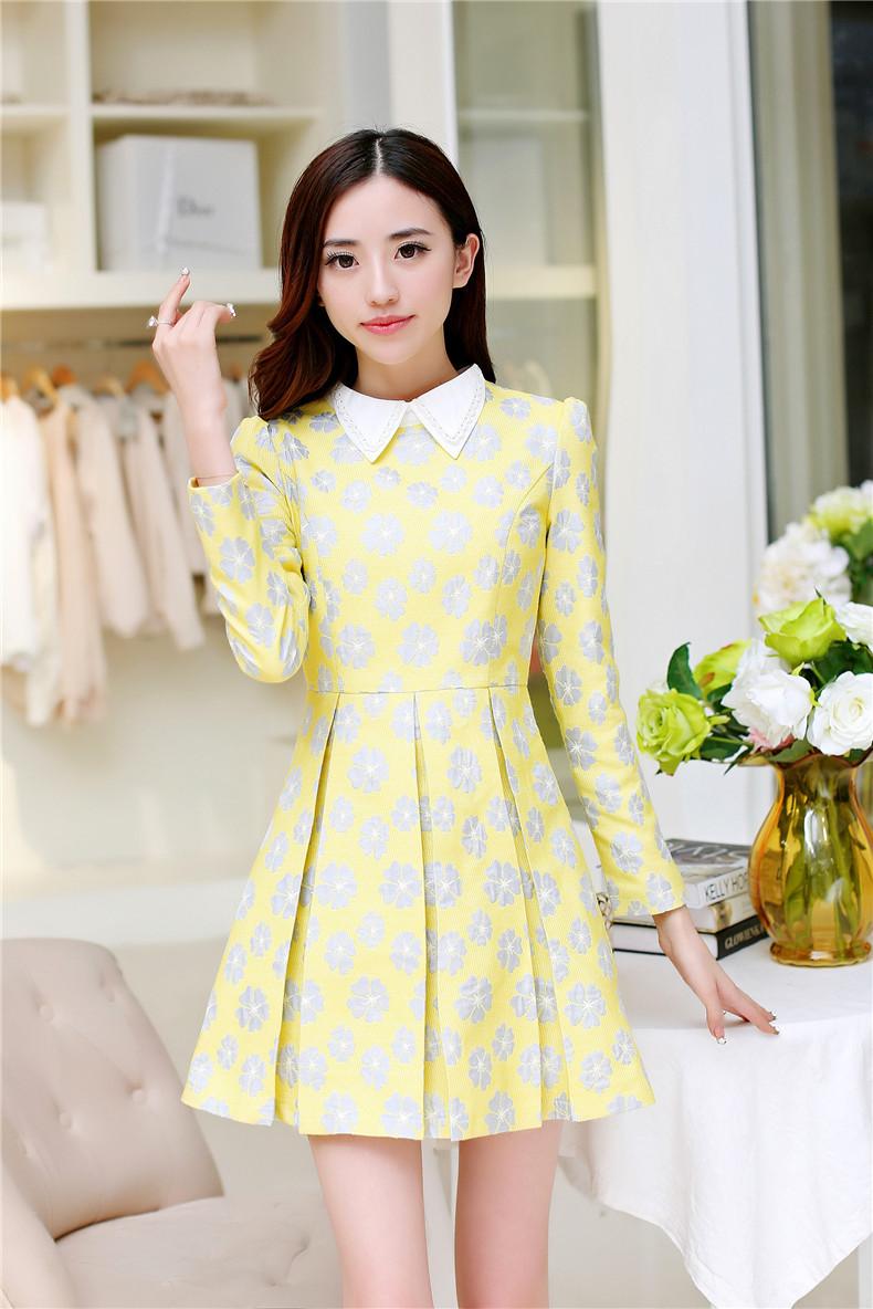 ชุดเดรสทำงานเกาหลี ชุดเดรสสั้นสีเหลือง พิมพ์ลายดอกไม้ทั้งตัว คอปก แขนยาว กระโปรงสั้นจีบวิส ชุดเดรสคุณภาพดีให้ลุคสาวหวานน่ารัก ใส่ไปงานแต่งงานได้ ,size S M L XL
