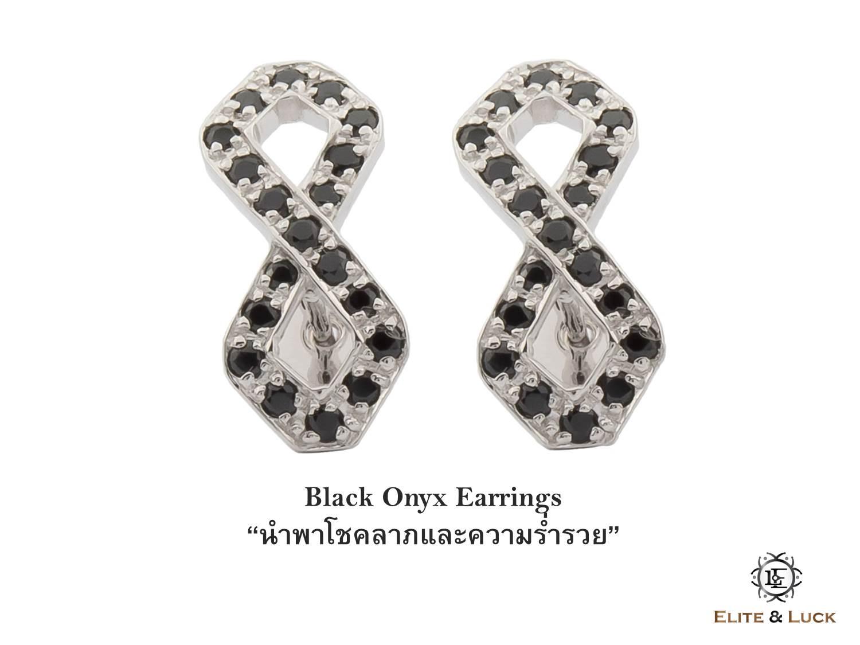 ต่างหู Black Onyx Sterling Silver สี Rhodium รุ่น Infinite
