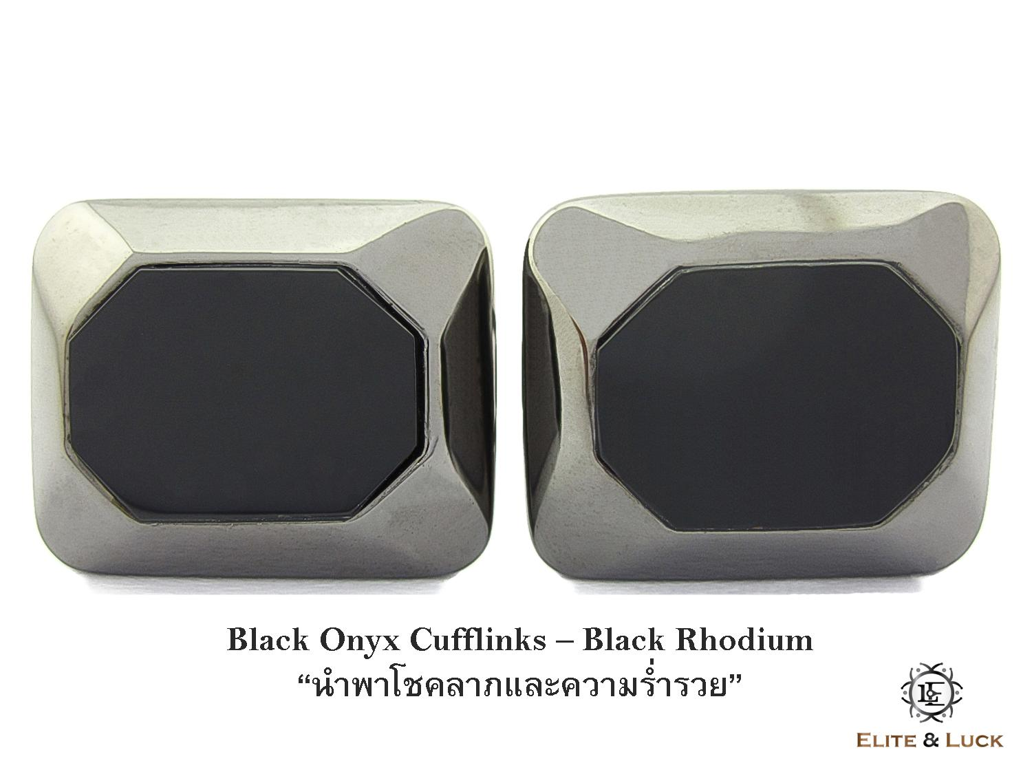 Black Onyx Sterling Silver Cufflinks สี Black Rhodium รุ่น Modern