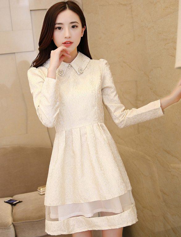 ชุดเดรสทำงานสวยๆสไตล์เกาหลี สีเบจ ชุดเดรสสั้น คอปก แขนยาว เอวเข้ารูป ( S M L XL ) เป็นชุดทำงานออฟฟิศ(บริษัท),คุณครู,ราชการ ให้ลุคสวยหวาน น่ารักๆ ดูเรียบร้อย