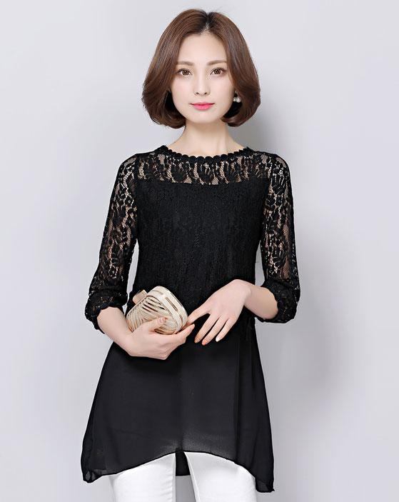 เสื้อลูกไม้สีดำ แขนสามส่วน ทรงปล่อย ตัวยาว ลุคเรียบๆ สวยหวาน สวมใส่สบาย