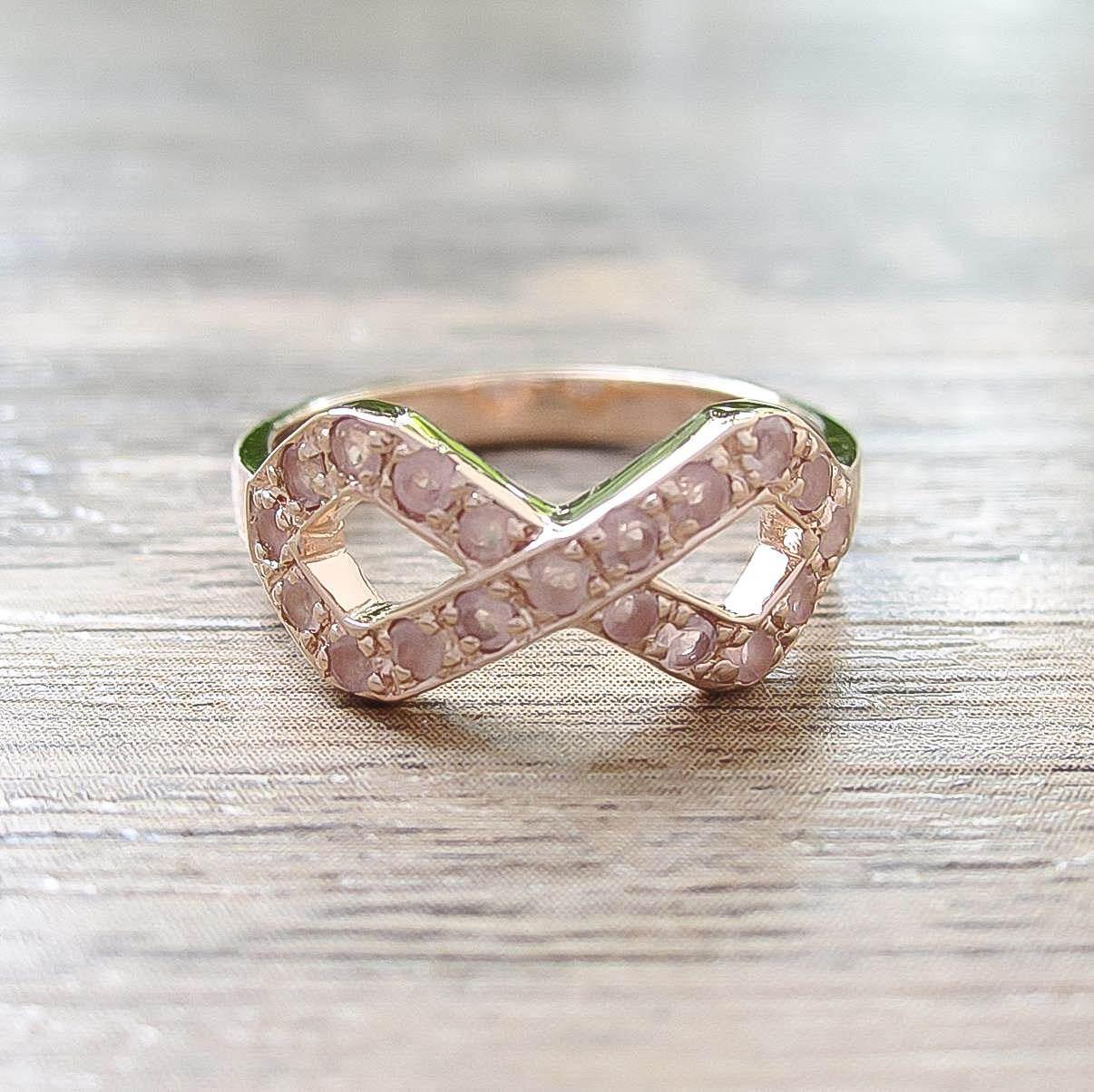 แหวน Rose Quartz Sterling Silver สี Rose Gold รุ่น Infinite