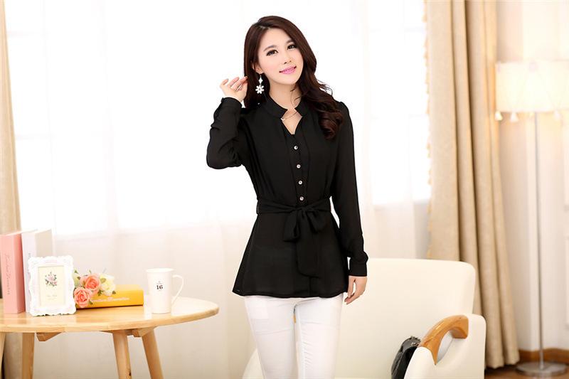 เสื้อทำงานสีดำ ผ้าชีฟอง แขนยาว สวยๆ เรียบร้อย ดูดี สไตล์สาวออฟฟิศ S-XL