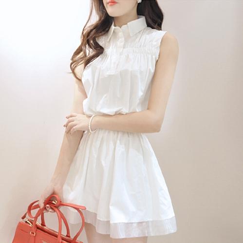 ชุดเดรสสั้นสีขาว คอปก แขนเอว ยืดจั๊ม แนวน่ารักๆ สดใส่สไตล์สาวเกาหลี