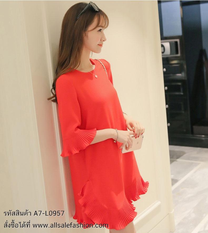 ชุดเดรสสั้นสีแดง ทรงปล่อยสวมใส่สบาย แขนสี่ส่วน ปลายแขนเสื้อ + ปลายกระโปรงแต่งระบายอัดพลีท สวยๆ น่ารักๆ