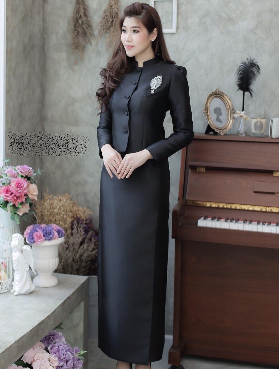 ชุดไทยจิตรลดาสีดำ ชุดถวายบังคมพระบรมศพ ไหล่จีบ แต่งกระดุม เย็บตีเกล็ดตรง คุณภาพงานพรีเมี่ยมเกรด A++
