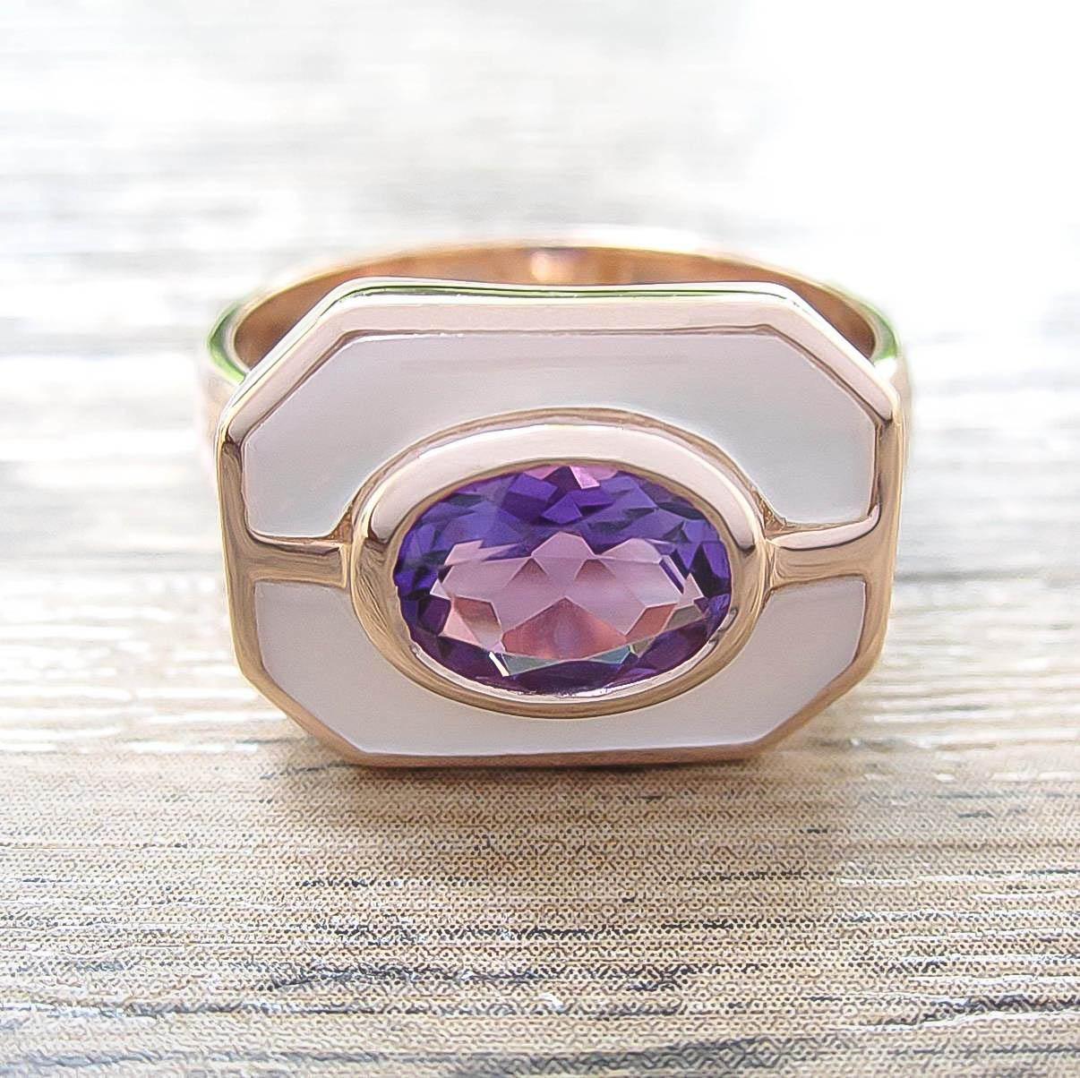 แหวน Amethyst + Mother of Pearl Sterling Silver สี Rose Gold รุ่น Charming