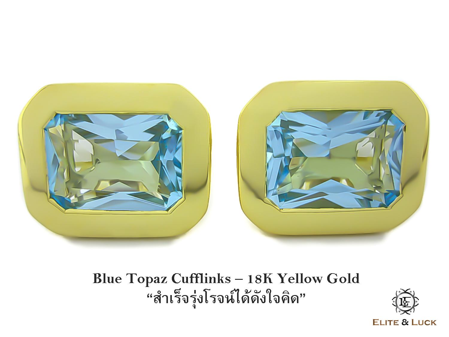 Blue Topaz Sterling Silver Cufflinks สี 18K Yellow Gold รุ่น Classic