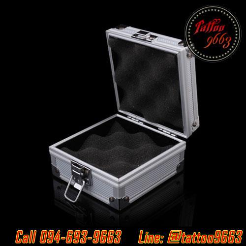 กล่องใส่เครื่องสักลายสีเงิน กล่องเครื่องสักลาย กล่องเก็บเครื่องสักลาย กระเป๋าใส่เครื่องสักลาย Professional Aluminum Tattoo Machine Box
