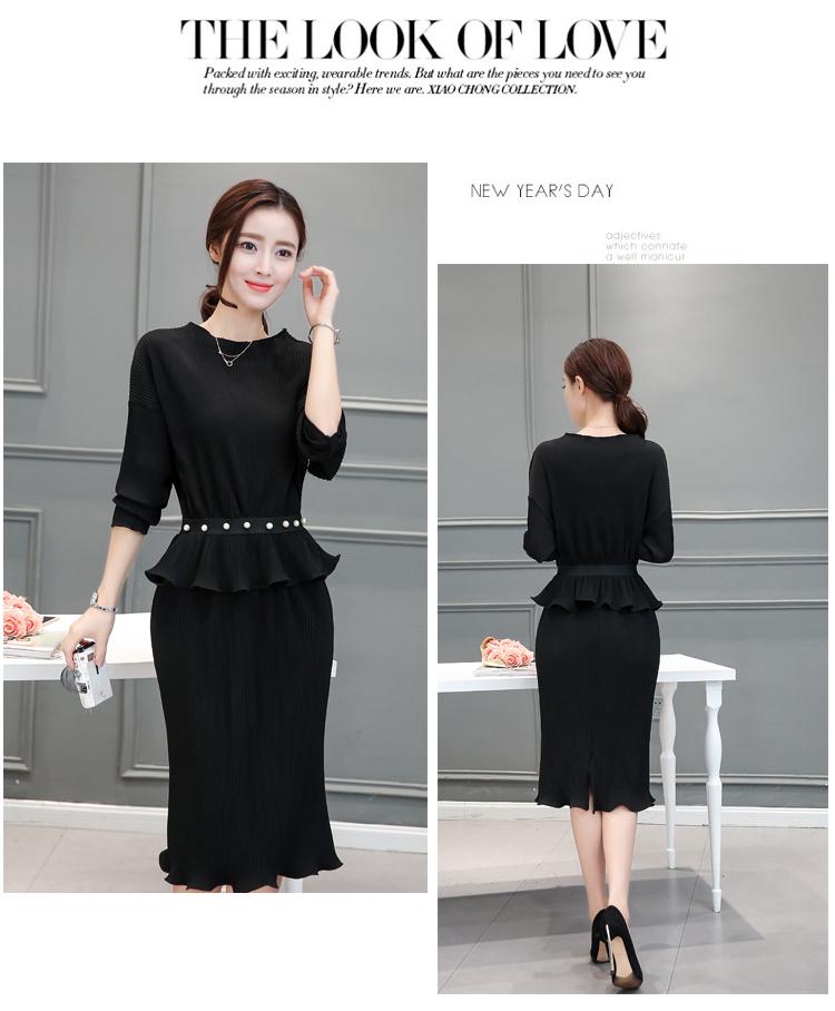 ชุดเซ็ทเสื้อกระโปรงสีดำแนวเรียบ สวย ดูดี ผ้าชีฟองอัดพลีททั้งชุด แฟชั่นเกาหลี