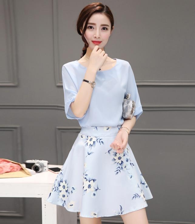 ชุดทำงานออฟฟิศสวยๆสไตล์เกาหลี เชตสองชิ้น เสื้อสีฟ้า น่ารัก