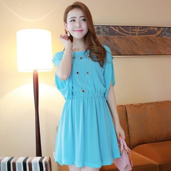 ชุดเดรสสั้นแฟชั่นเกาหลี สีฟ้า ผ้าชีฟอง คอกลม เอวยืด แขนสามส่วนเก๋ๆ เป็นชุดเดรสสวยหวาน น่ารัก ดูเรียบร้อย ,ชุดไปงานศพสวยๆ ( M L)