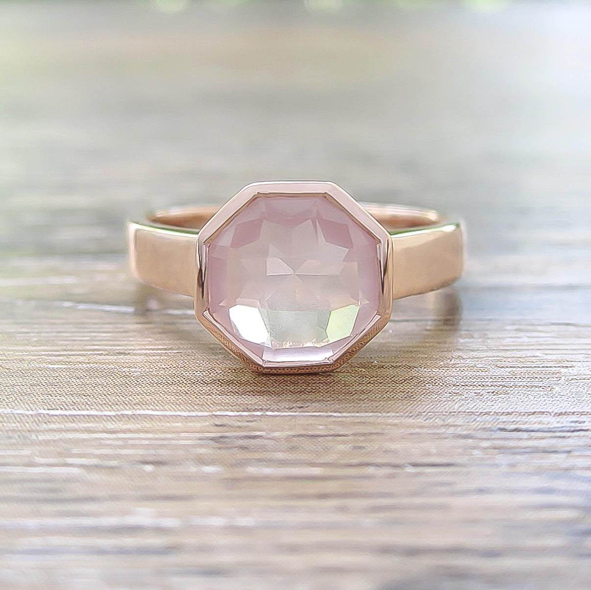 แหวน Rose Quartz Sterling Silver สี Rose Gold รุ่น Glamorous