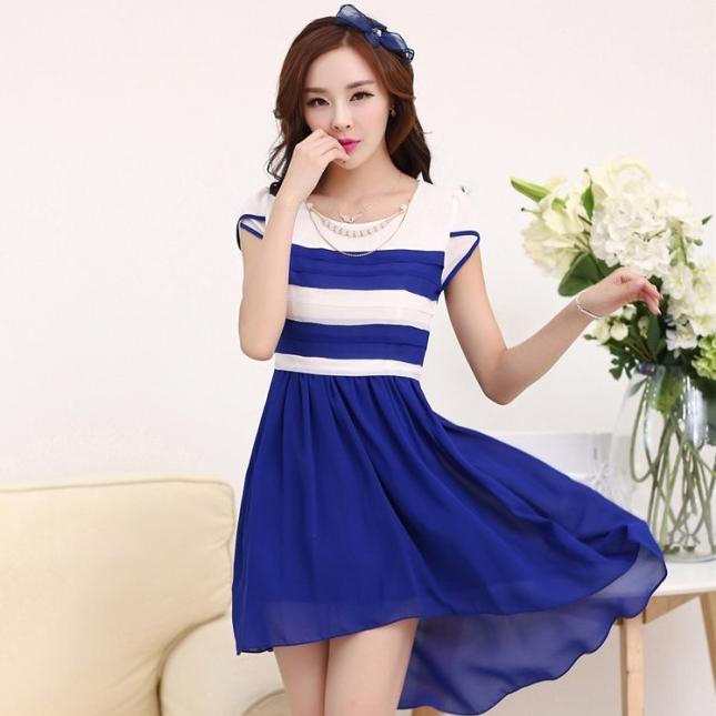 ชุดเดรสทำงานสวยๆ ชุดเดรสสั้น สีน้ำเงิน ผ้าชีฟอง เนื้อผ้าดี ( S M L XL )