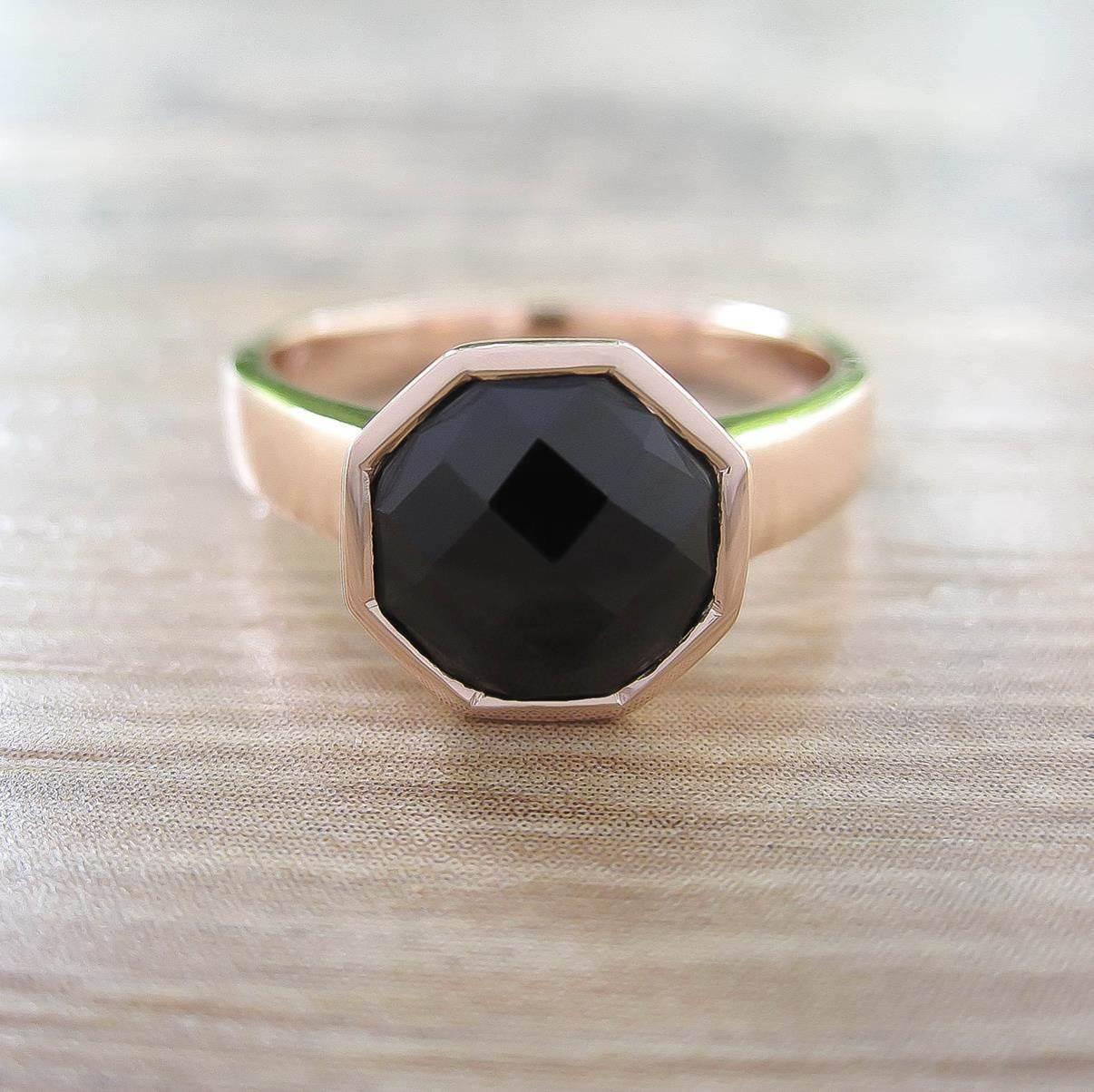 แหวน Black Onyx Sterling Silver สี Rose Gold รุ่น Glamorous