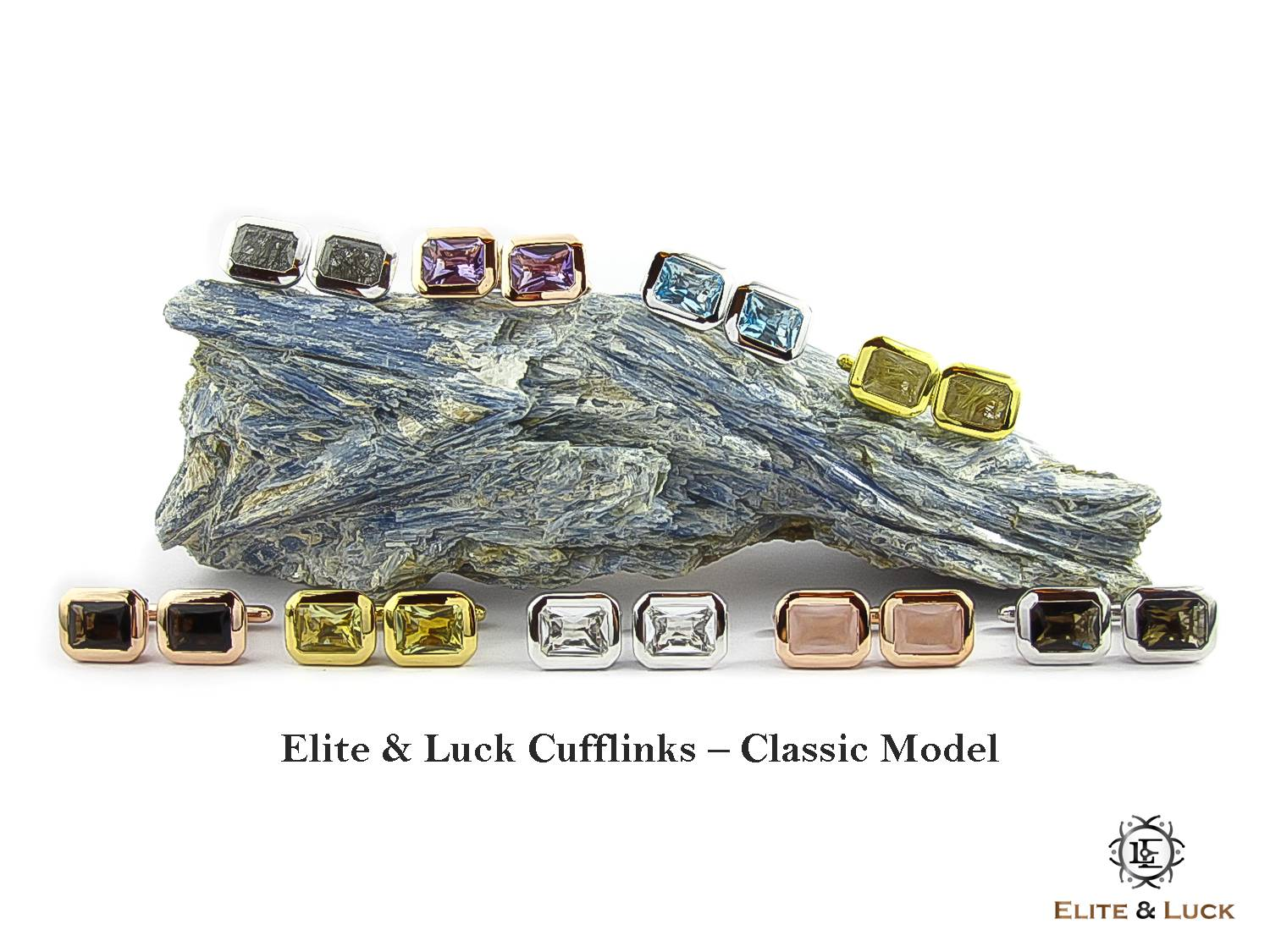Elite & Luck Gemstone Cufflinks for Men, Classic Model