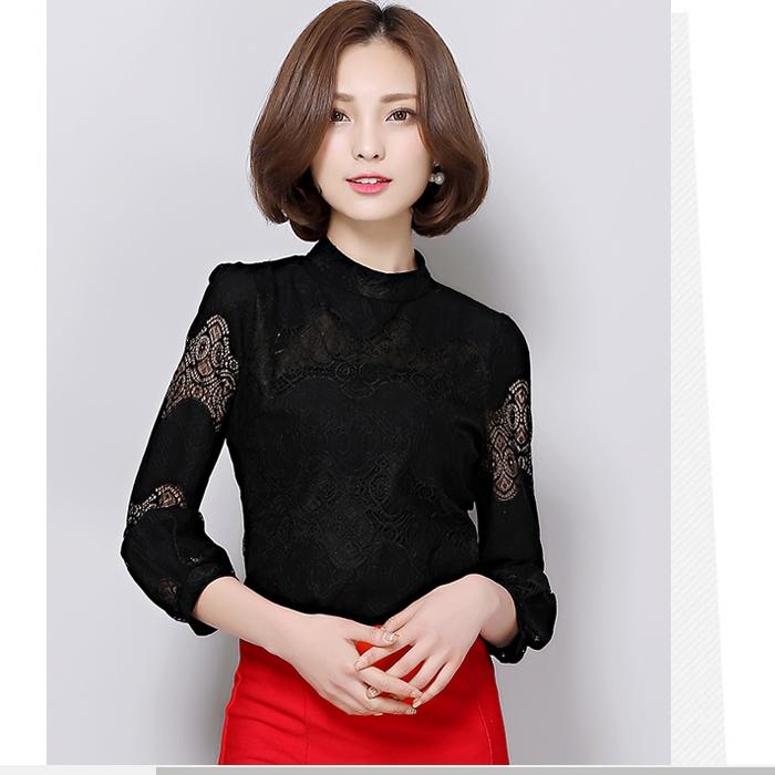 เสื้อลูกไม้สีดำ คอกลม แขนยาว ทรงตรง สวมใส่สบาย แนวเรียบร้อย สวย ดูดี ใส่ทำงานได้
