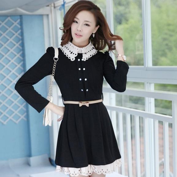 ชุดทำงานสวยๆ ชุดเดรสสั้น สีดำ คอปก แขนยาว ให้ลุคสาวหวานสไตล์เกาหลี สวยหรู ดูดี ( S M L )