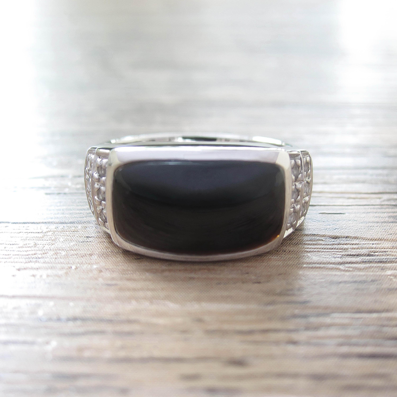 แหวน Black Onyx + White Topaz Sterling Silver สี Rhodium รุ่น Noble