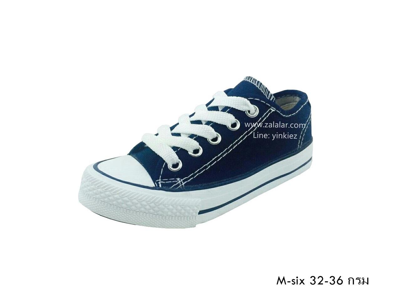 [พร้อมส่ง] รองเท้าผ้าใบเด็กแฟชั่น รุ่น M-six สีกรม